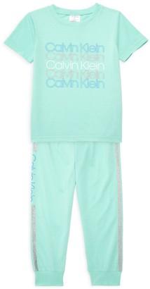 Calvin Klein Girl's 2-Piece T-Shirt & Pants Set