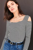 Silence & Noise Silence + Noise Striped Cold Shoulder Crop Top