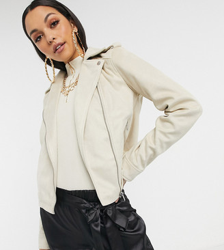 Asos Tall ASOS DESIGN Tall suedette biker jacket in stone