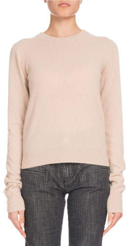 Altuzarra Crewneck Long-Sleeve Braided-Back Cashmere Sweater
