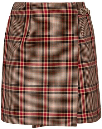 Rokh Check Cotton Blend Mini Skirt
