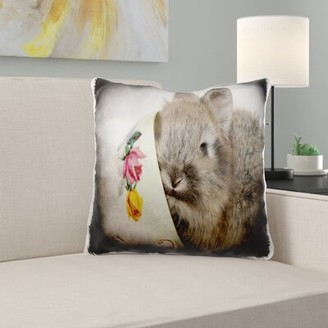 East Urban Home Sunglow Lionhead Bunny in a Teacup Pillow Cover East Urban Home