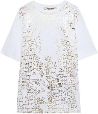 Roberto Cavalli Metallic Printed Cotton-jersey T-shirt