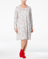 Charter Club Plus Size Printed Sleepshirt and Socks Set, Only at Macy's