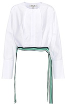 Diane von Furstenberg Cotton cropped side tie blouse