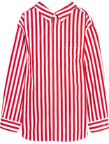 Balenciaga Oversized Striped Cotton Shirt - Red