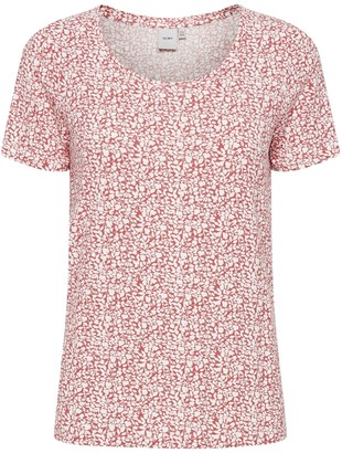 Ichi Baroque Rose Tee Shirt 20111220 - XS . | viscose | rose pink - Rose pink