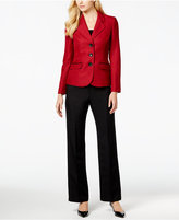 Le Suit Three-Button Colorblocked Tweed Pantsuit