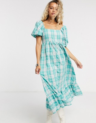 Vintage Supply midi smock dress with ouff sleeves and peplum hem in vintage check