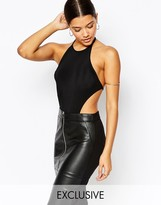 Club L Halter Neck Bodysuit with Cut Outs