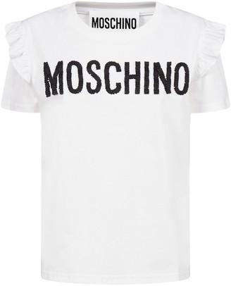 Moschino Logo Ruffle T-Shirt