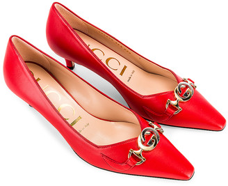 Gucci Low Heel Pumps in Heron Red | FWRD