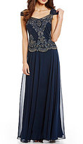 J Kara Petite Beaded-Bodice Mock Gown