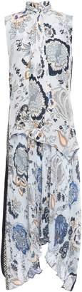 Tory Burch Margaret Tie-neck Layered Printed Silk Crepe De Chine Dress