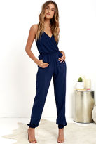 LuLu*s Learning to Fly Navy Blue Jumpsuit