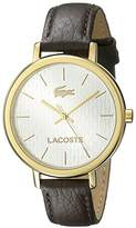 Lacoste Women's 2000888 Nice Gold-Tone Stainless Steel Watch With Brown Leather Band