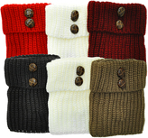Angelina Olive & Burgundy Six-Pair Button Boot Toppers Set