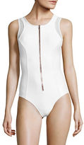 Luxe by Lisa Vogel Zip-Front One-Piece Swimsuit