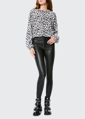 Alice + Olivia Ansley Blouson-Sleeve Cropped Pullover