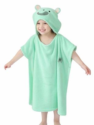 GEMVIE Baby Kids Hooded Bath Towel Cartoon Animal Hooded Poncho Robe for Toddler Beach Bath Robe