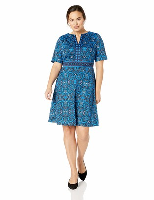 London Times Women's Plus Size Split Neck Ponte FIT & Flare Dress
