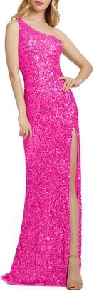 Mac Duggal Sequin One-Shoulder Column Gown