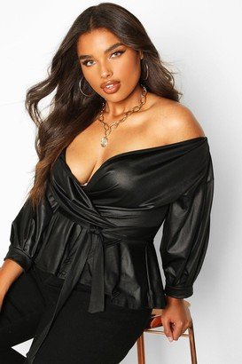 boohoo Plus Leather Look Off The Shoulder Top