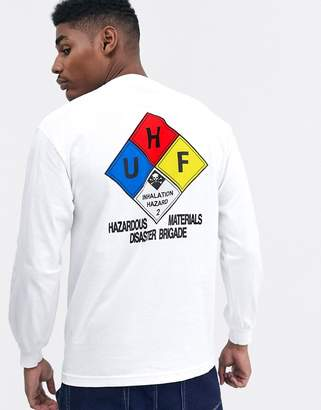 HUF Hazard long sleeve t-shirt with back print in white