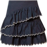 Ulla Johnson Ella Embroidered Ruffled Cotton-poplin Mini Skirt - Midnight blue