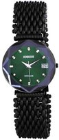 Jowissa Women's J5.194.XL Crystal 3 Black PVD Coated Stainless Steel Mesh Bracelet Green Dial Watch