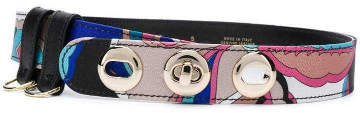 Emilio Pucci silver-tone buckle printed belt