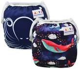 ALVABABY Swim Diapers One Size Adjustable Reuseable Washable for Baby Infants & Toddlers 2pcs DYK21-22-CA