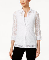 Alfred Dunner Petite Reel It In Lace Layered-Look Shirt