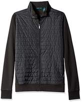 Perry Ellis Men's Big and Tall Mixed Media Quilted Full Zip Knit