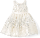 Nannette White & Silver Sequin A-Line Dress - Girls