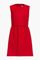 Thumbnail for your product : RED Valentino Lace-up Gathered Twill Mini Dress