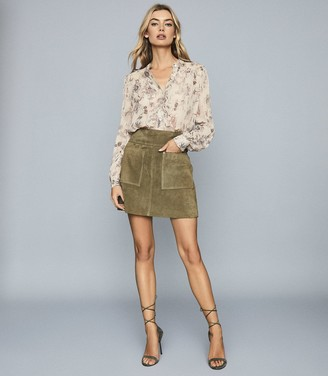 Reiss Ruby - LamA Detailed Chiffon Blouse in Nude