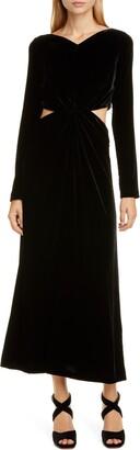 Rachel Comey Mast Cutout Waist Long Sleeve Velvet Dress
