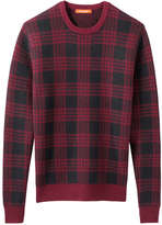 Joe Fresh Men's Plaid Sweater, Dark Red (Size L)