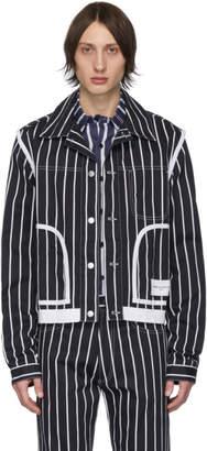 Daniel W. Fletcher Navy Denim Striped Jacket
