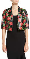 Michael Kors Stemmed-Roses Plonge Leather Bolero Jacket
