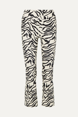 Sprwmn Cropped Zebra-print Leather Flared Pants