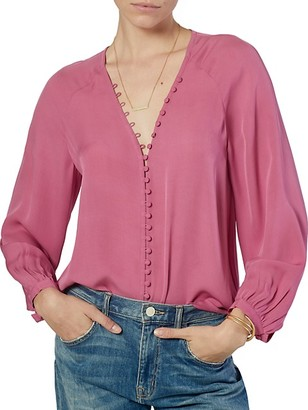 Joie Shariana Button Loop Silk Blouse