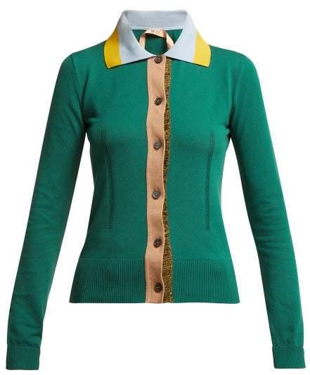 No.21 No. 21 - Point Collar Cotton Blend Cardigan - Womens - Green Multi