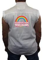 Juiceclouds Equality Denim Vest Celebrate Your True Colors Mens Sleeveless Biker Wear M-5XL (, L)