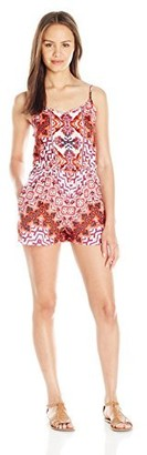 Angie Women's Pink Printed Spaghetti Strap Romper Large