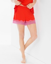 Soma Intimates Lace Pajama Shorts Poppy Red/Rose Violet