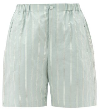 Gucci Pinstriped High-rise Cotton-poplin Shorts - Mint Multi