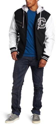 Southpole Men's Fashion Hoody Wool Varsity Jacket with Zipper Detail