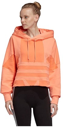 adidas Large Logo Crop Hoodie (Chalk Coral/Semi Coral) Women's Clothing